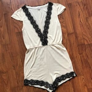 UO Out From Under Lace Trim Deep Vneck Romper